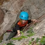 Girl climbing outdoors, Wood Lane Quarry