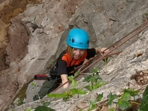 Girl climbing outdoors, Wood Lane Quarry