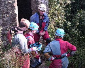 Prepping group at entrance to Swildon's Hole