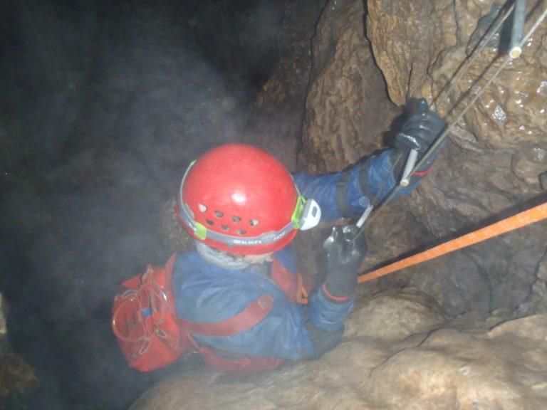 Wet adventure caving - ladder descent!
